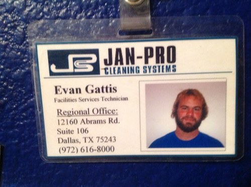 evan g janitor badge
